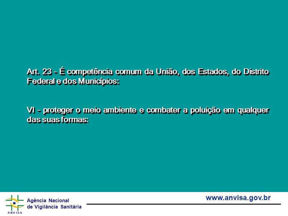Art. 23 – É competência comum da União, dos Estados, do Distrito Federal e dos Municípios: