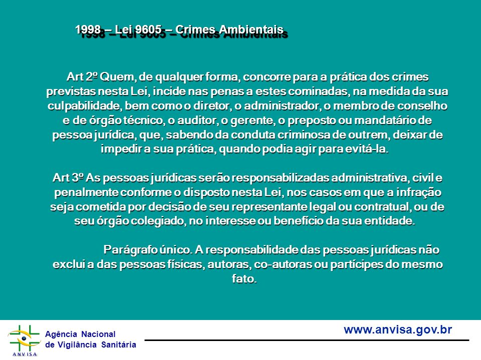 1998 – Lei 9605 – Crimes Ambientais