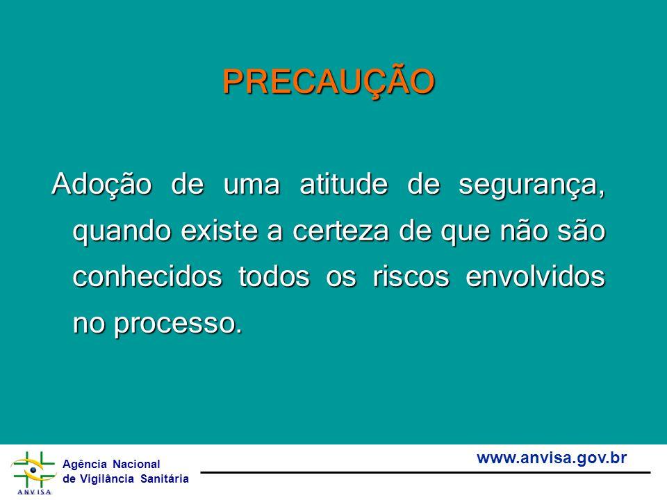 PRECAUÇÃO Adoção de uma atitude de segurança, quando existe a certeza de que não são conhecidos todos os riscos envolvidos no processo.