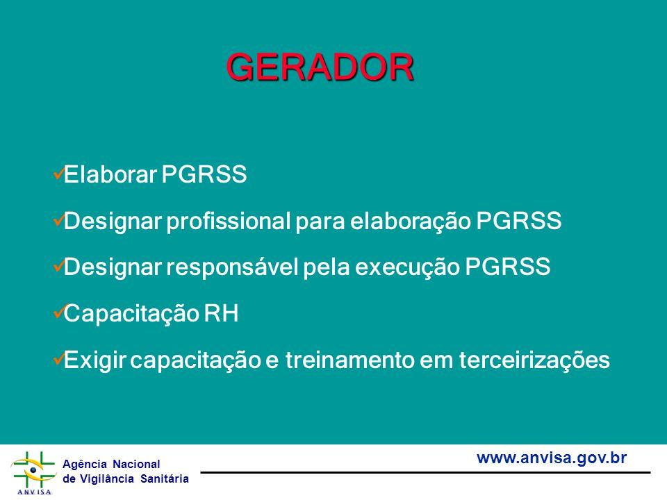 GERADOR Elaborar PGRSS Designar profissional para elaboração PGRSS