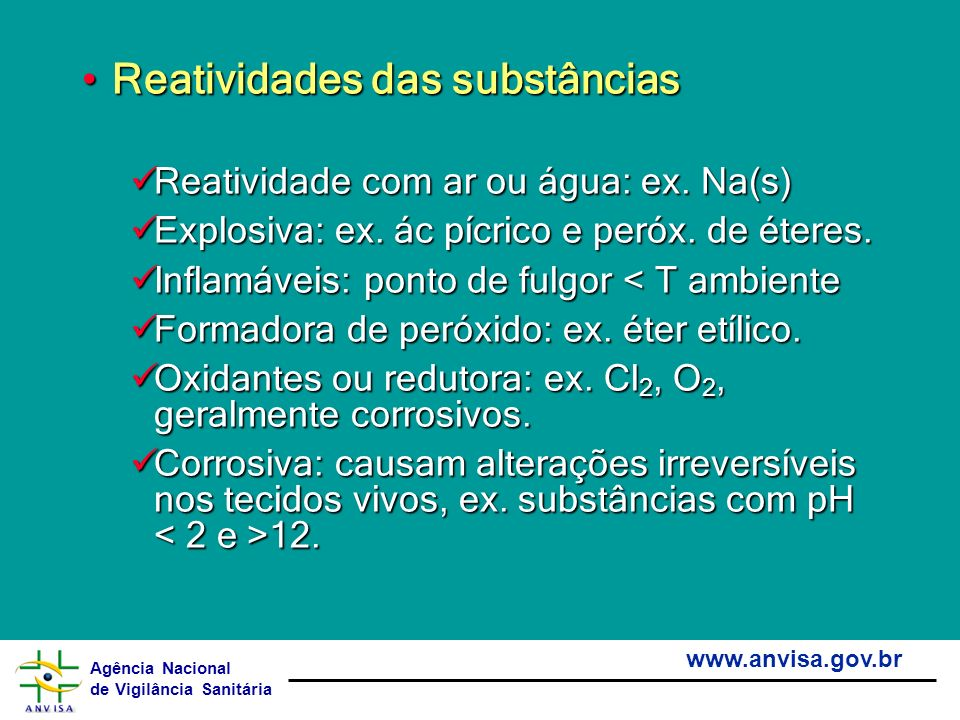 Reatividades das substâncias