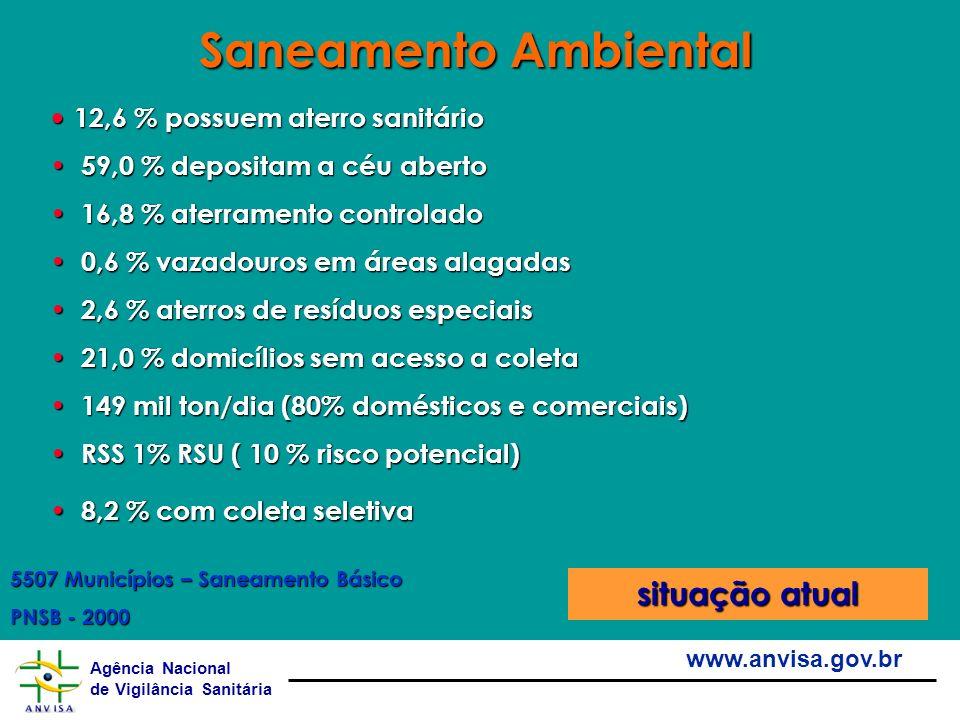 Saneamento Ambiental situação atual 12,6 % possuem aterro sanitário