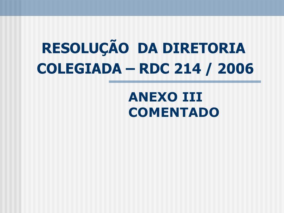 RESOLUÇÃO DA DIRETORIA COLEGIADA – RDC 214 / 2006