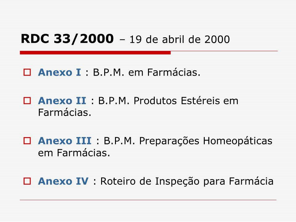 RDC 33/2000 – 19 de abril de 2000 Anexo I : B.P.M. em Farmácias.