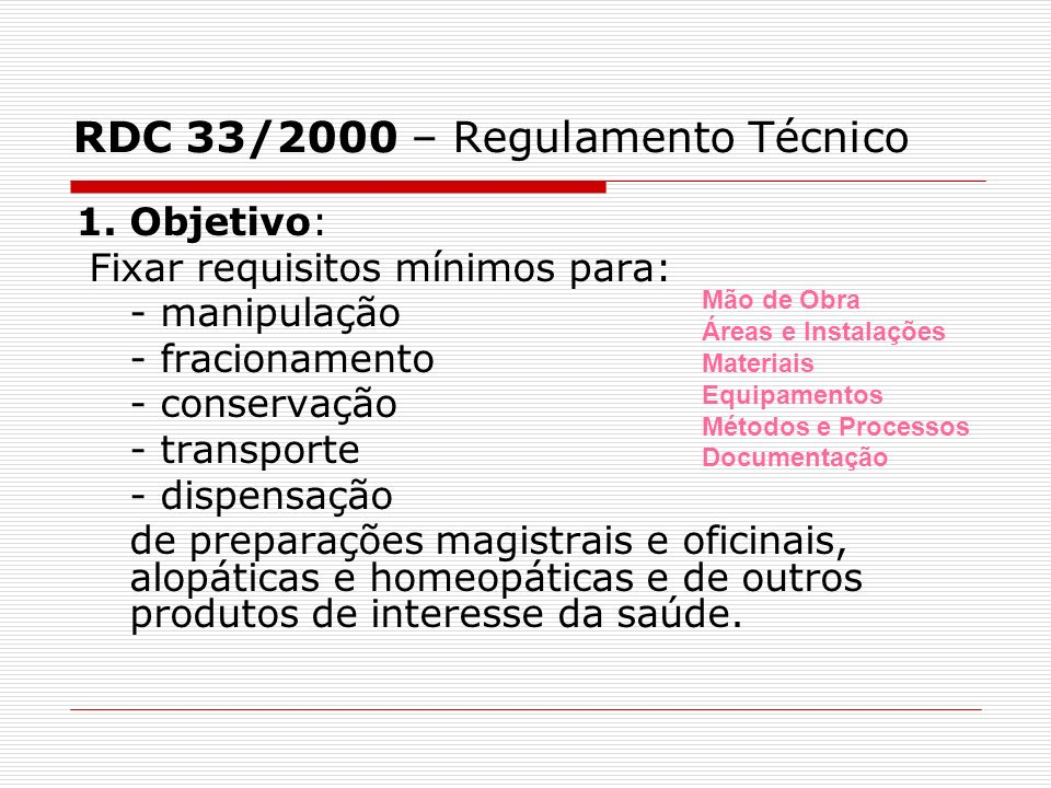 RDC 33/2000 – Regulamento Técnico