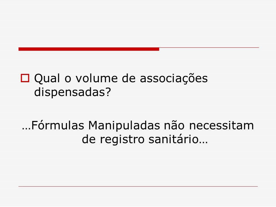 …Fórmulas Manipuladas não necessitam de registro sanitário…