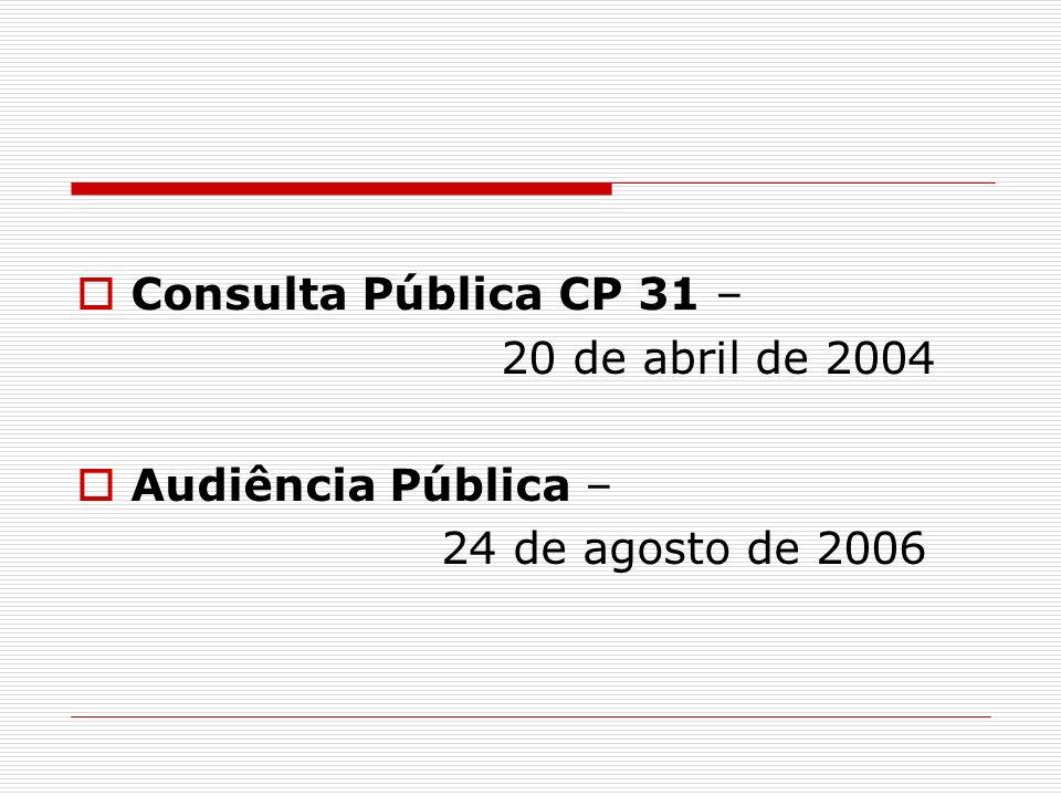 Consulta Pública CP 31 – 20 de abril de 2004 Audiência Pública – 24 de agosto de 2006