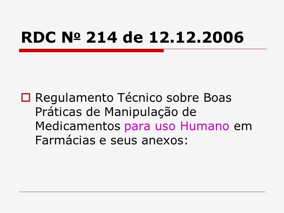 RDC No 214 de 12.12.2006 Regulamento Técnico sobre Boas Práticas de Manipulação de Medicamentos para uso Humano em Farmácias e seus anexos:
