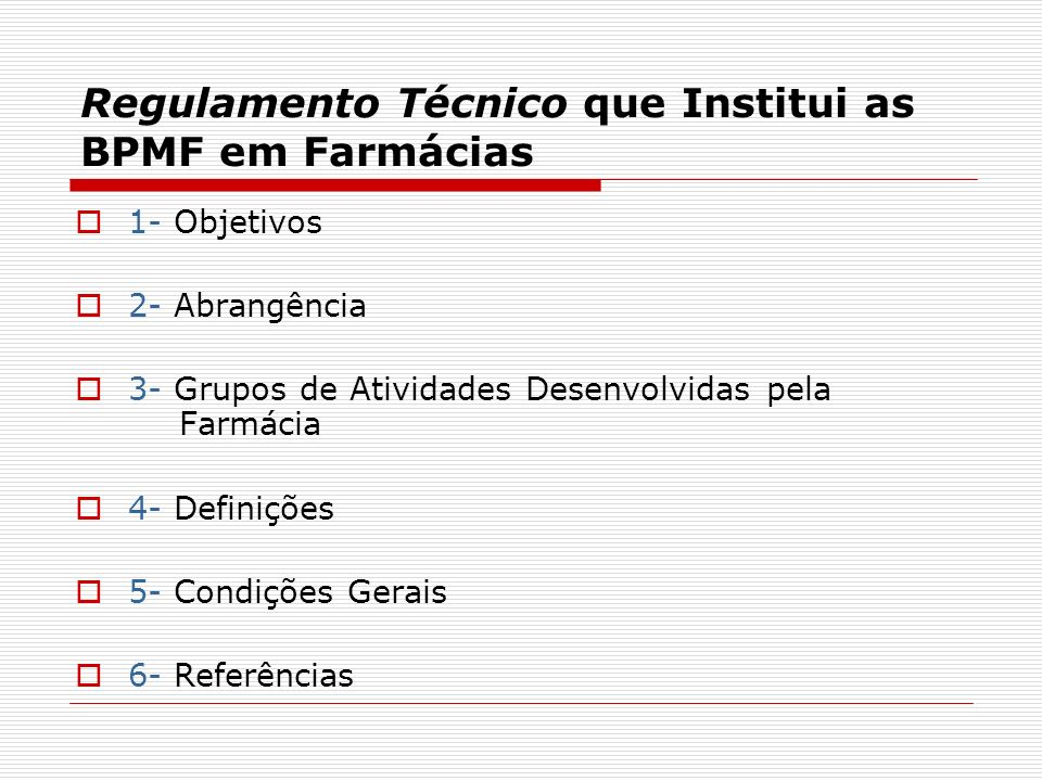 Regulamento Técnico que Institui as BPMF em Farmácias