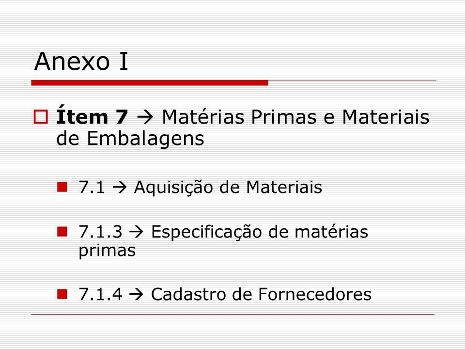 Anexo I Ítem 7  Matérias Primas e Materiais de Embalagens
