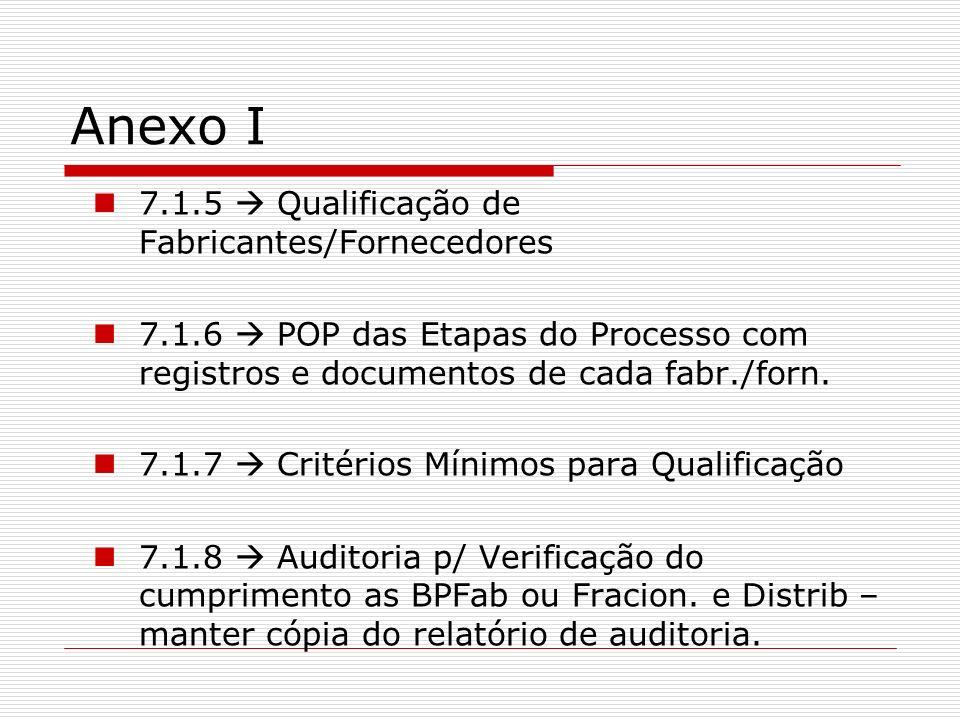 Anexo I 7.1.5  Qualificação de Fabricantes/Fornecedores