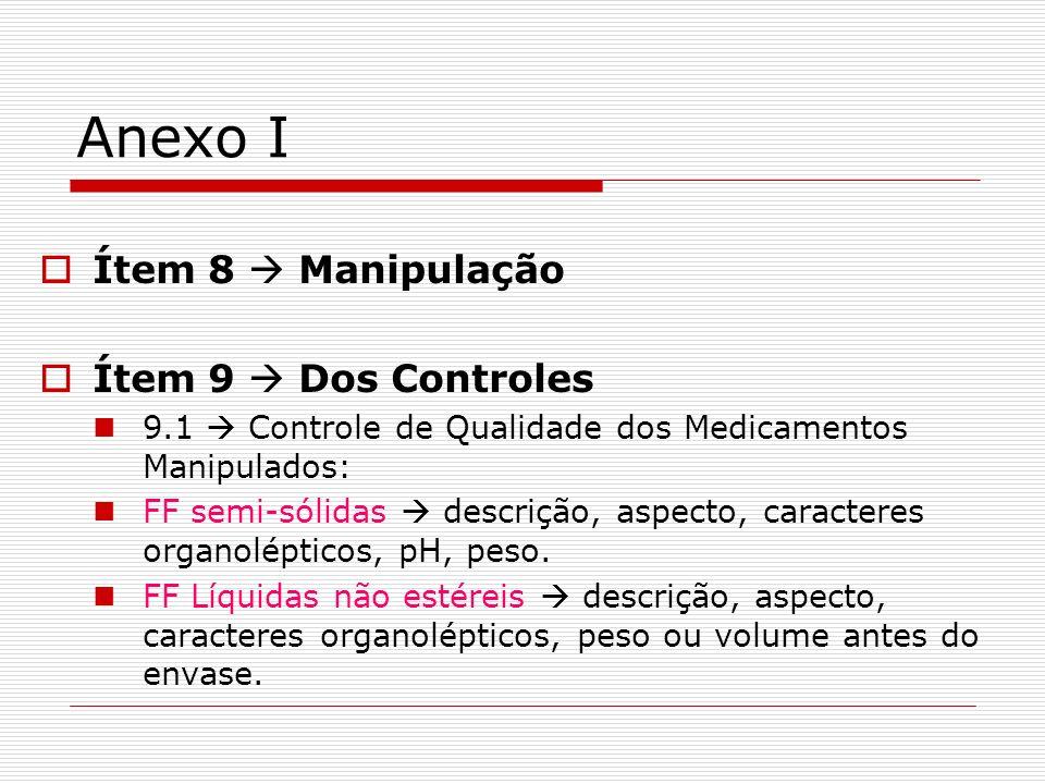 Anexo I Ítem 8  Manipulação Ítem 9  Dos Controles