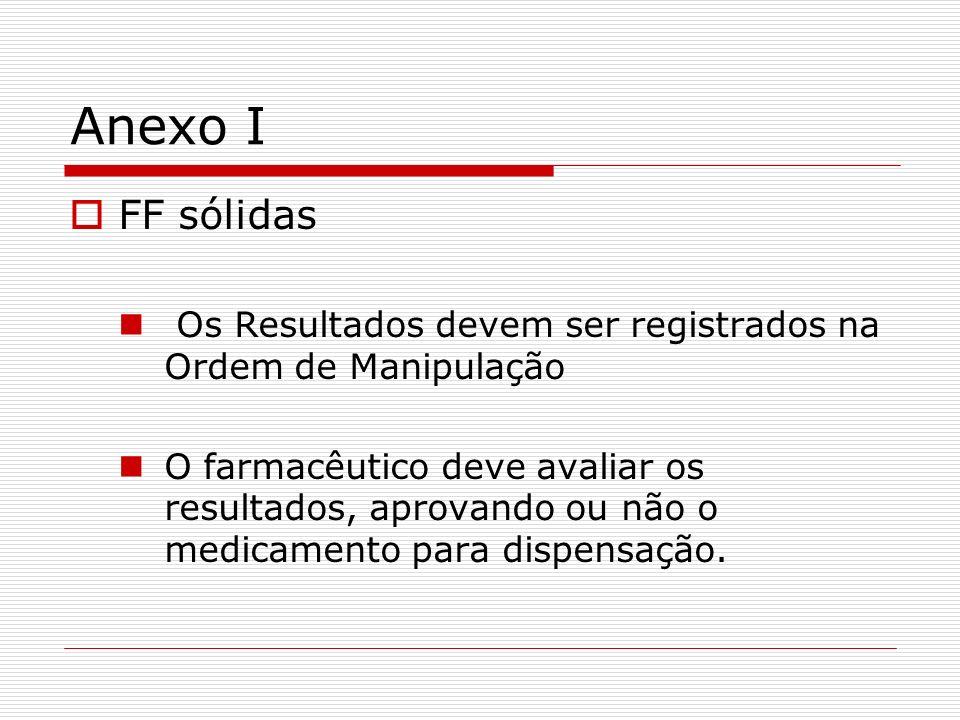 Anexo I FF sólidas. Os Resultados devem ser registrados na Ordem de Manipulação.