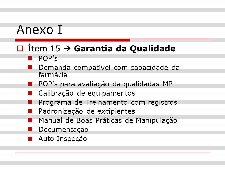 Anexo I Ítem 15  Garantia da Qualidade POP's