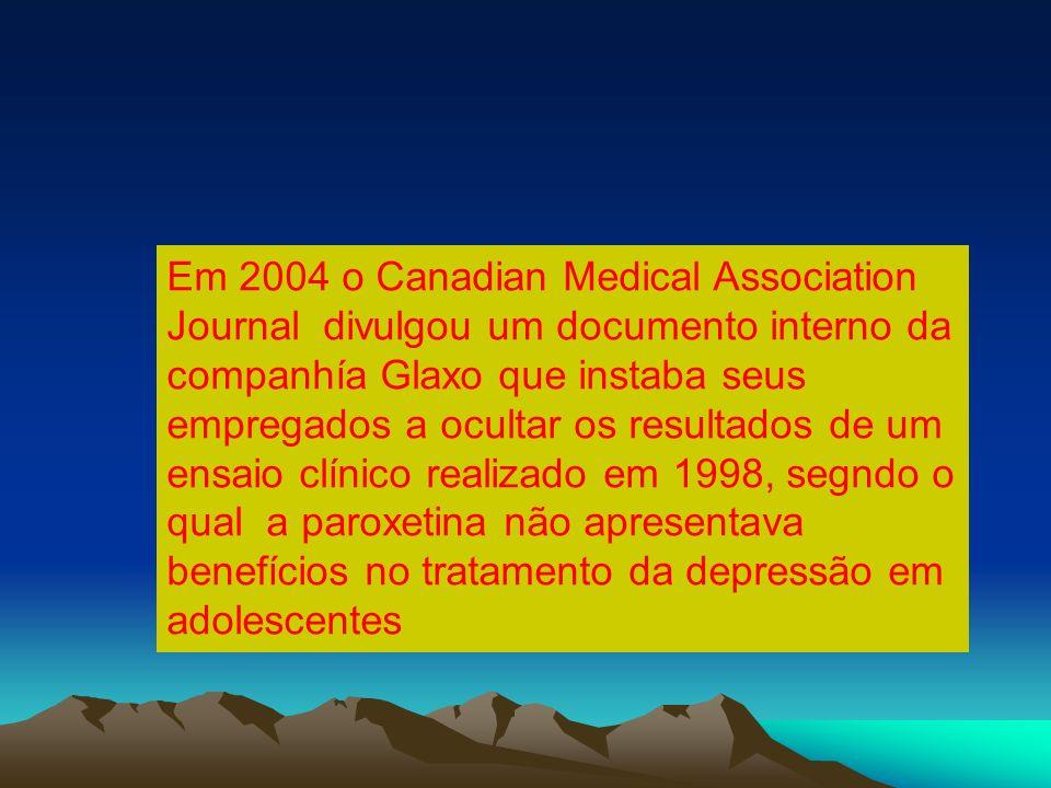 Em 2004 o Canadian Medical Association Journal divulgou um documento interno da companhía Glaxo que instaba seus empregados a ocultar os resultados de um ensaio clínico realizado em 1998, segndo o qual a paroxetina não apresentava benefícios no tratamento da depressão em adolescentes