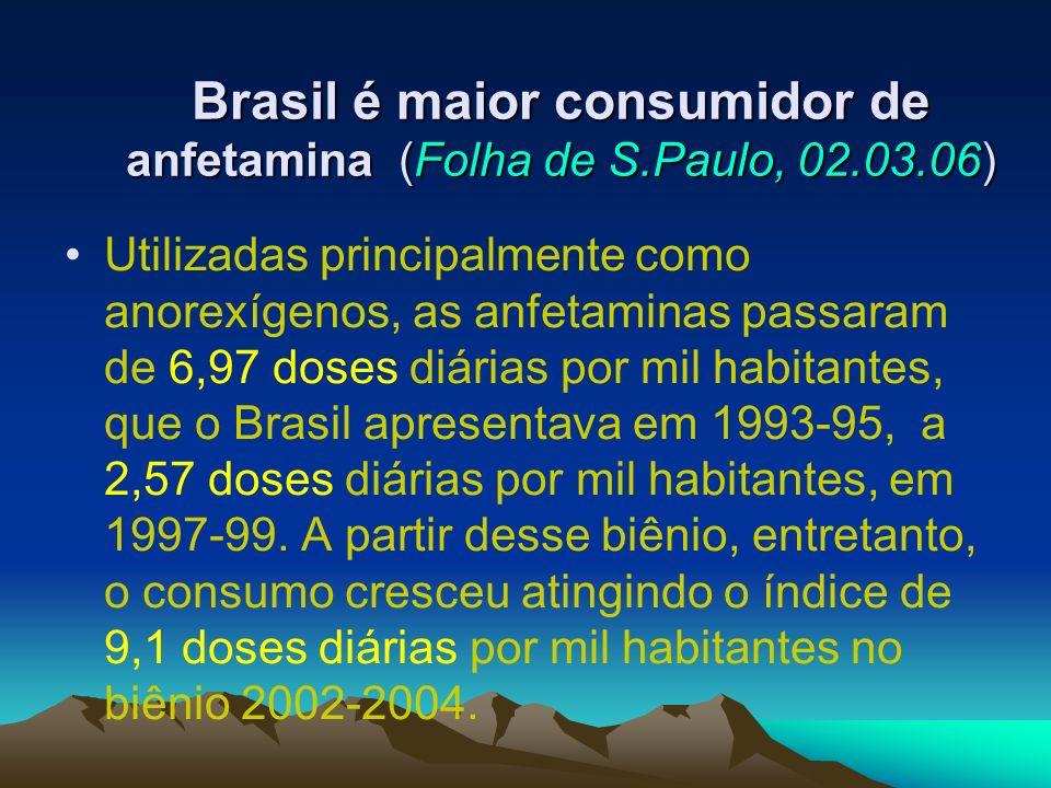 Brasil é maior consumidor de anfetamina (Folha de S.Paulo, 02.03.06)