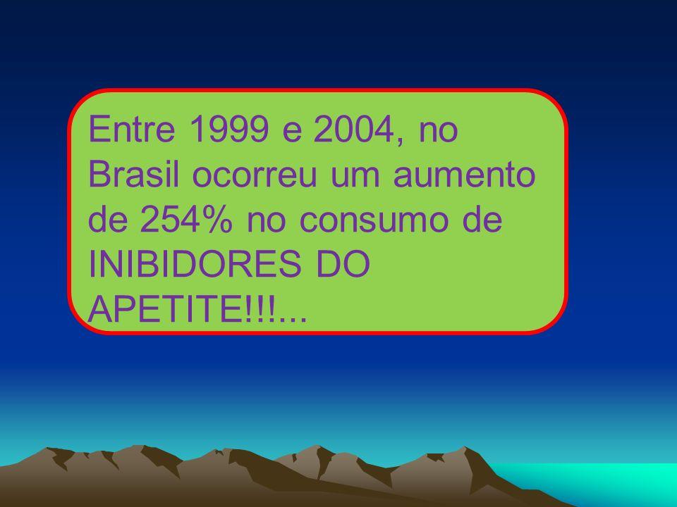 Entre 1999 e 2004, no Brasil ocorreu um aumento de 254% no consumo de INIBIDORES DO APETITE!!!...
