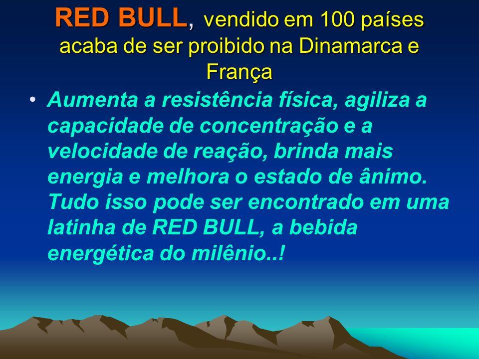 RED BULL, vendido em 100 países acaba de ser proibido na Dinamarca e França