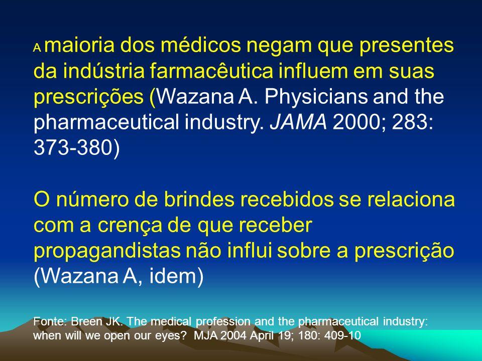 A maioria dos médicos negam que presentes da indústria farmacêutica influem em suas prescrições (Wazana A. Physicians and the pharmaceutical industry. JAMA 2000; 283: 373-380)