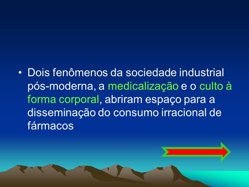 Dois fenômenos da sociedade industrial pós-moderna, a medicalização e o culto à forma corporal, abriram espaço para a disseminação do consumo irracional de fármacos