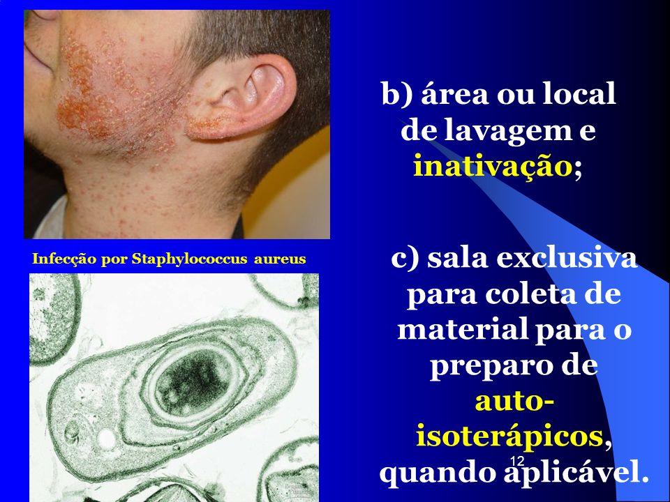 b) área ou local de lavagem e inativação;