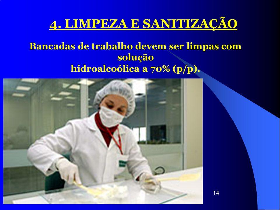 4. LIMPEZA E SANITIZAÇÃO Bancadas de trabalho devem ser limpas com solução.