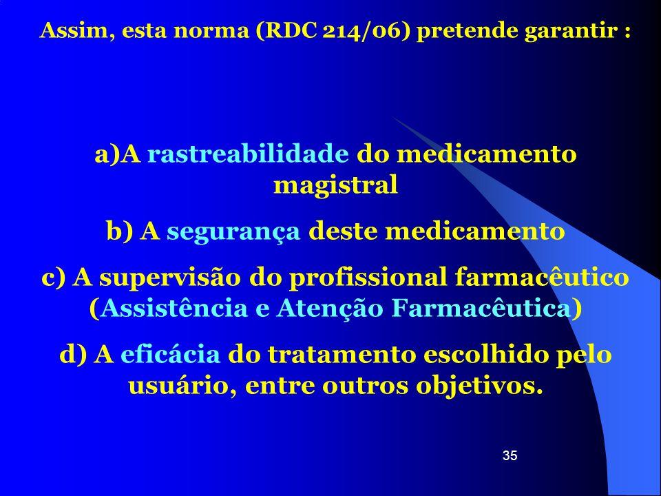 a)A rastreabilidade do medicamento magistral