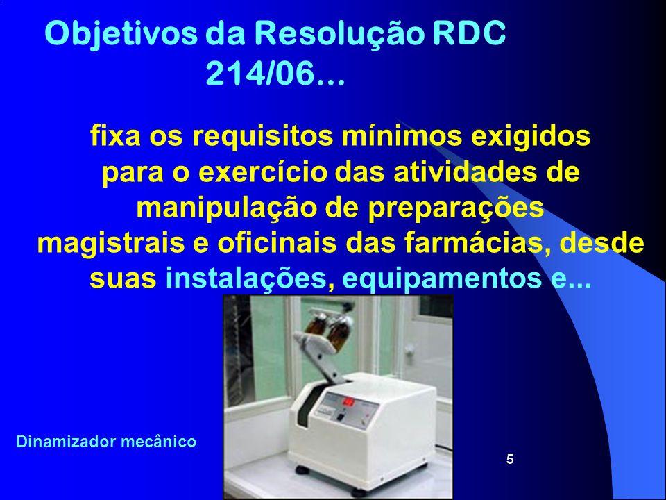 Objetivos da Resolução RDC 214/06...
