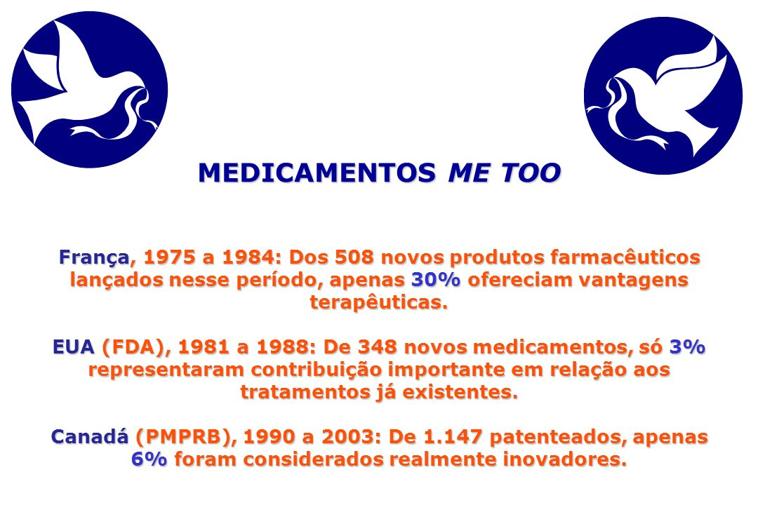 MEDICAMENTOS ME TOO França, 1975 a 1984: Dos 508 novos produtos farmacêuticos lançados nesse período, apenas 30% ofereciam vantagens terapêuticas.