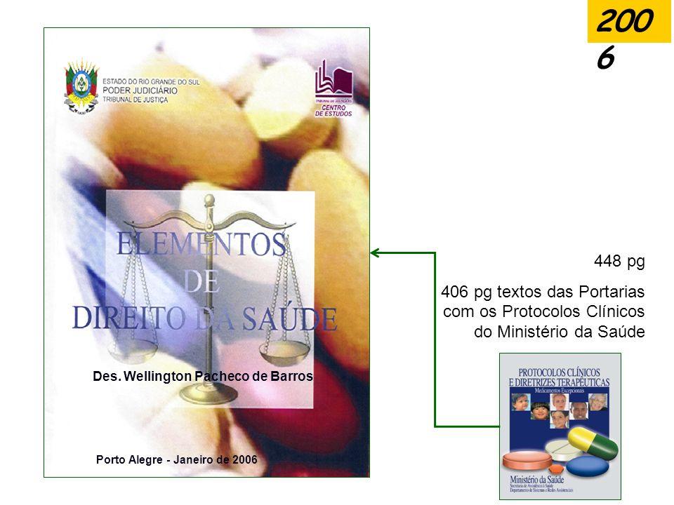 2006 448 pg. 406 pg textos das Portarias com os Protocolos Clínicos do Ministério da Saúde. Des. Wellington Pacheco de Barros.