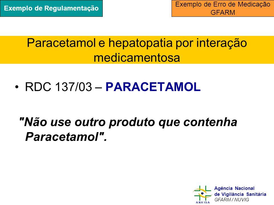 Paracetamol e hepatopatia por interação medicamentosa