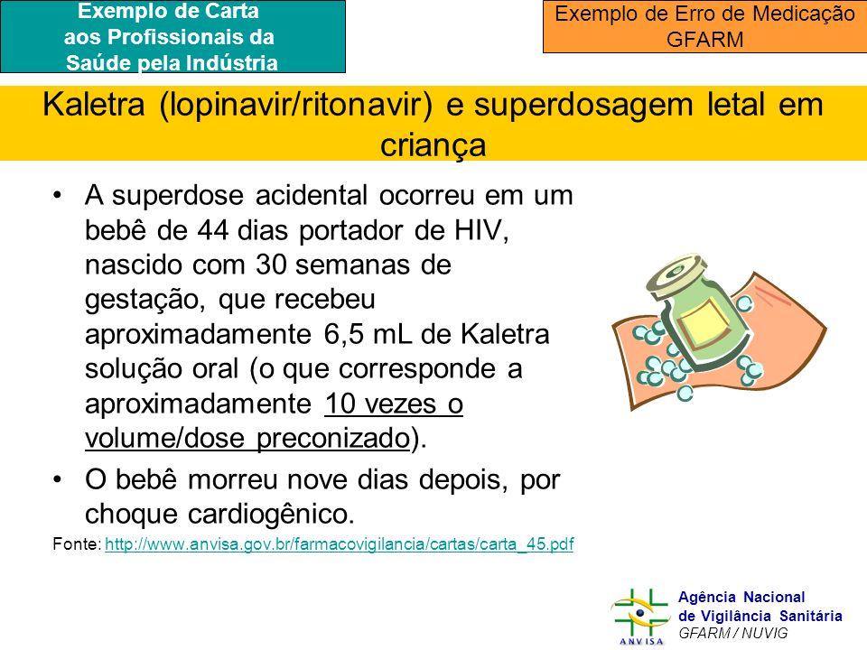 Kaletra (lopinavir/ritonavir) e superdosagem letal em criança