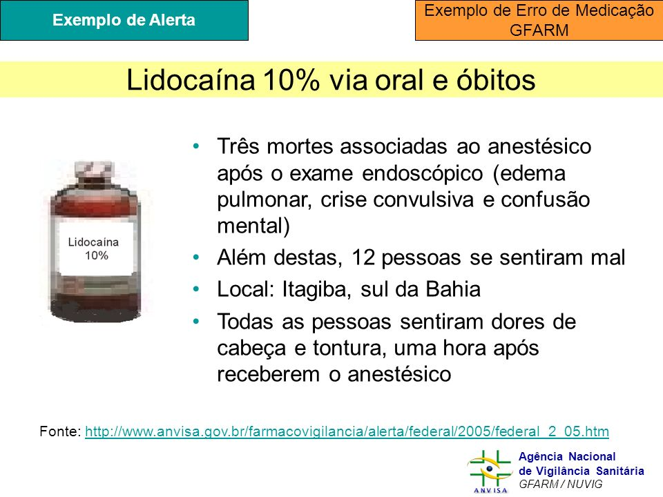 Lidocaína 10% via oral e óbitos