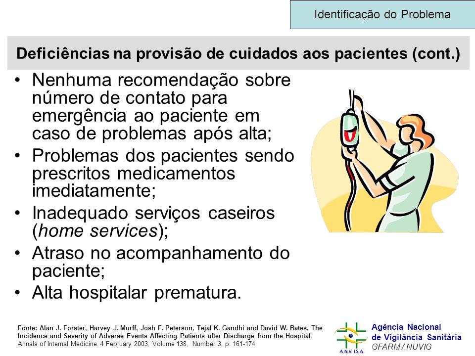 Deficiências na provisão de cuidados aos pacientes (cont.)