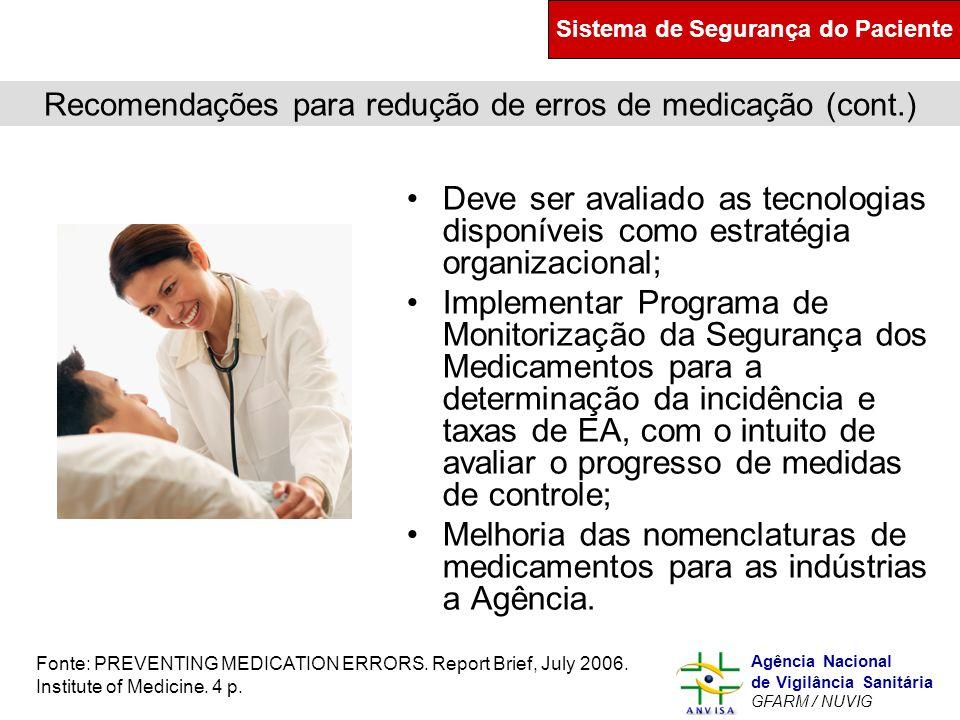 Recomendações para redução de erros de medicação (cont.)