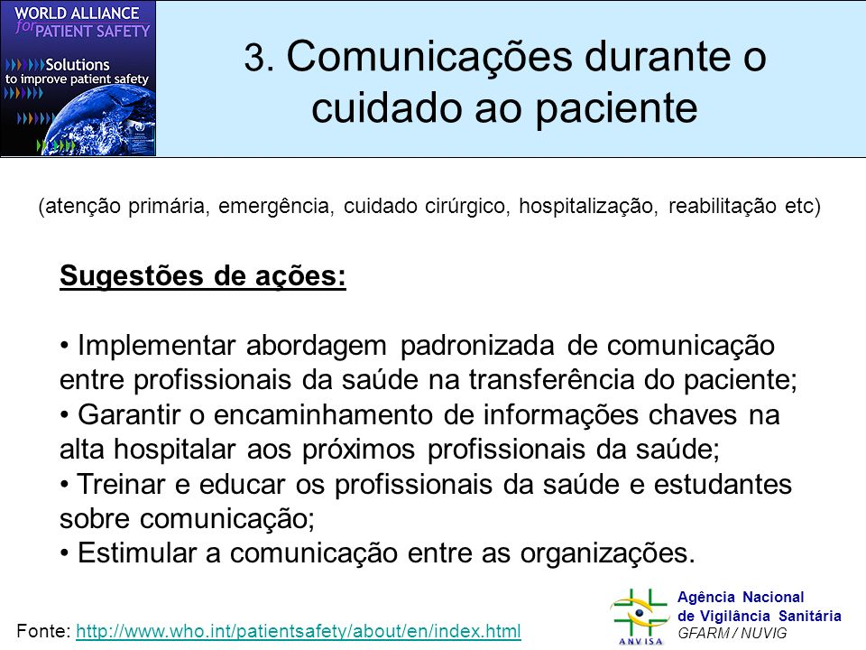 3. Comunicações durante o cuidado ao paciente