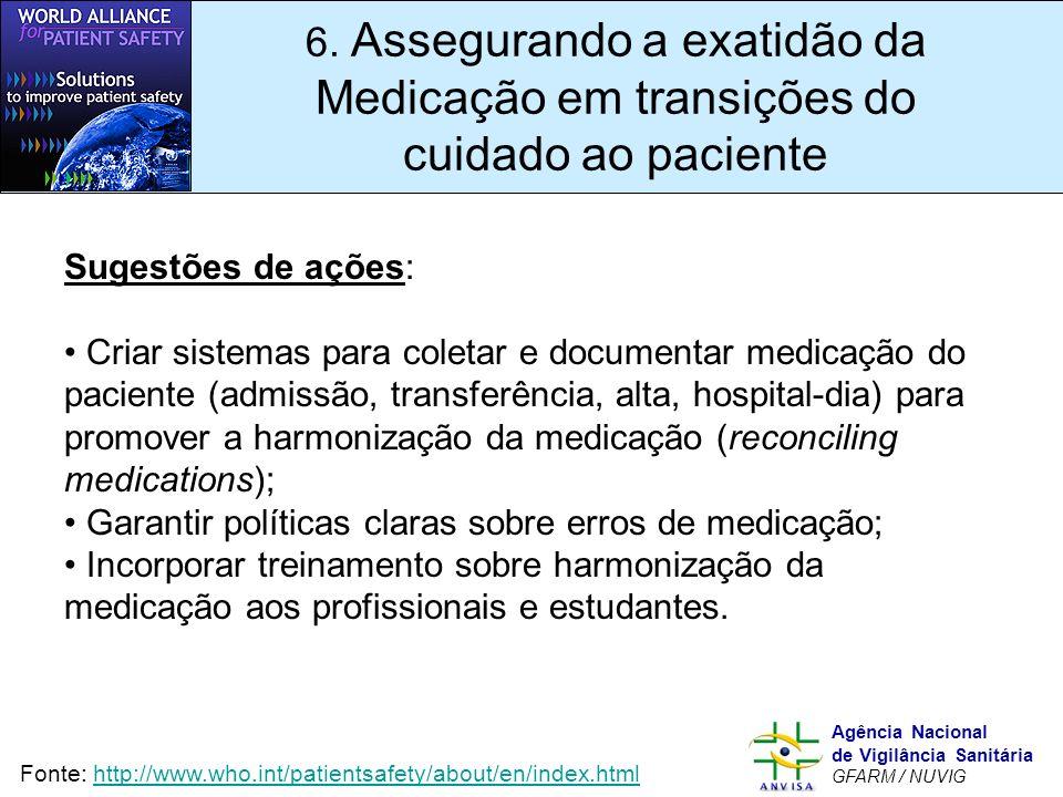 6. Assegurando a exatidão da Medicação em transições do cuidado ao paciente
