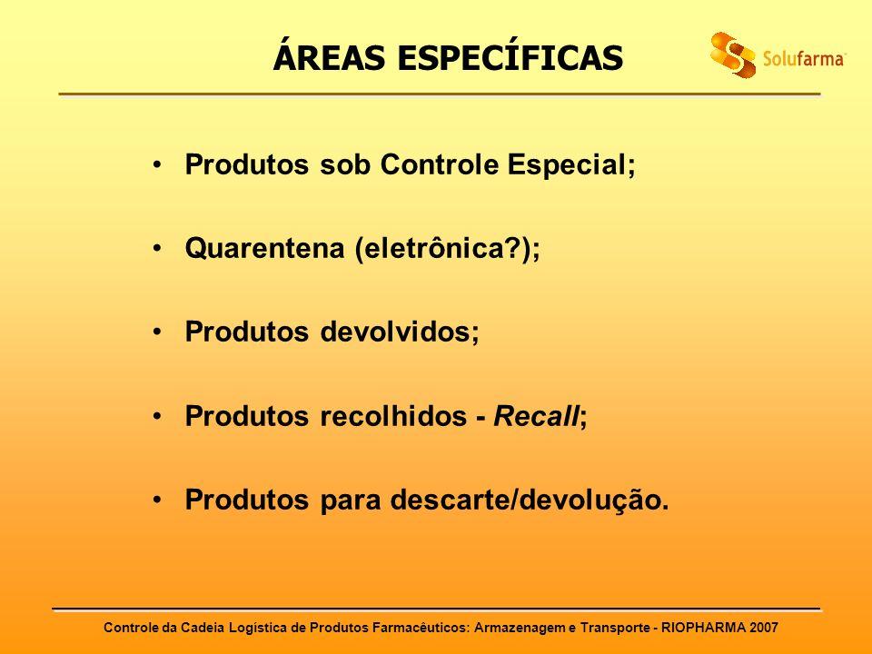 ÁREAS ESPECÍFICAS Produtos sob Controle Especial;