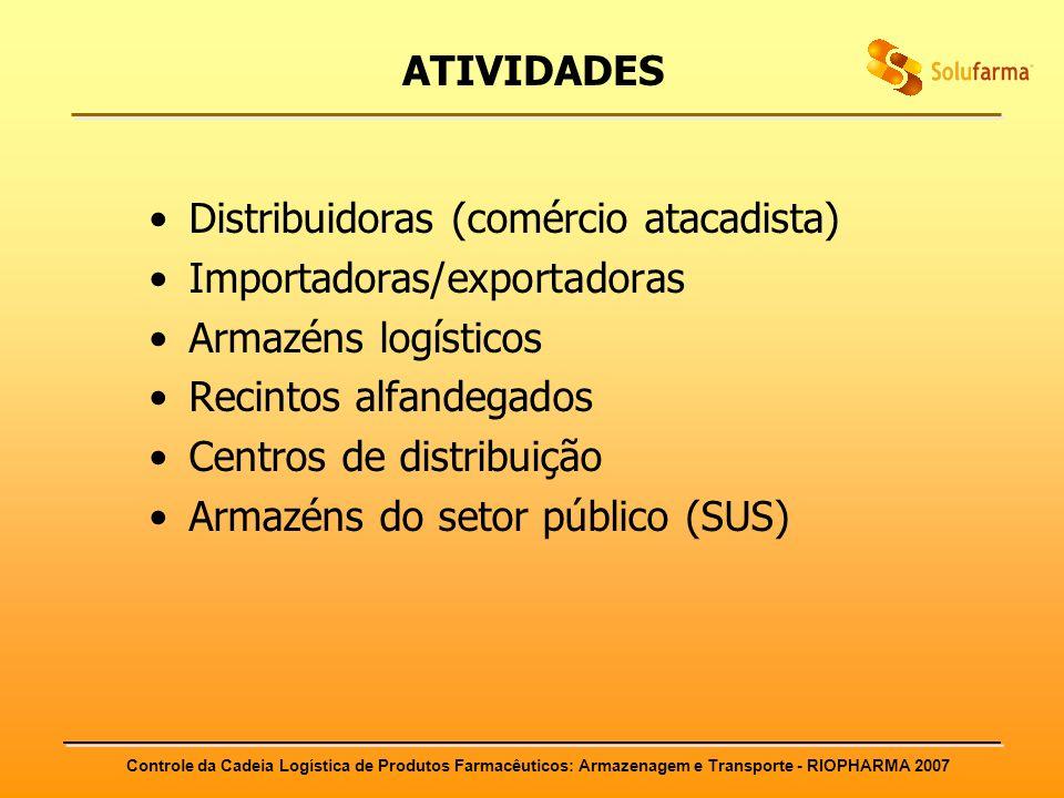 ATIVIDADES Distribuidoras (comércio atacadista) Importadoras/exportadoras. Armazéns logísticos. Recintos alfandegados.
