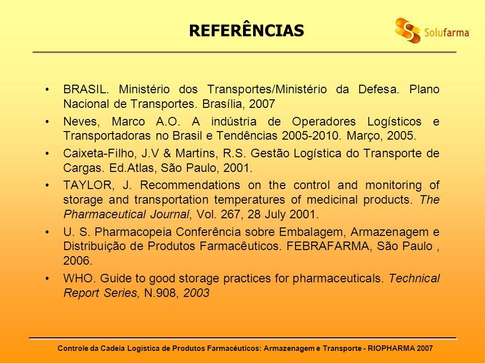 REFERÊNCIAS BRASIL. Ministério dos Transportes/Ministério da Defesa. Plano Nacional de Transportes. Brasília, 2007.