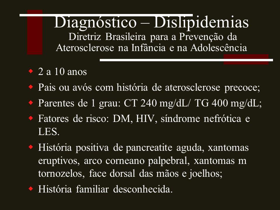 Diagnóstico – Dislipidemias Diretriz Brasileira para a Prevenção da Aterosclerose na Infância e na Adolescência
