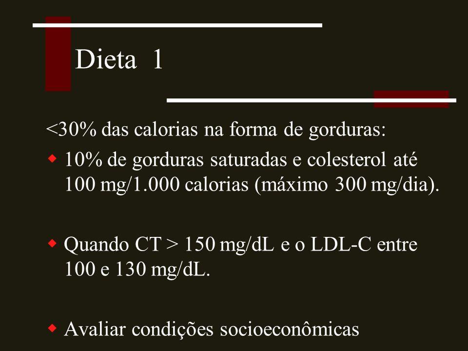 Dieta 1 <30% das calorias na forma de gorduras: