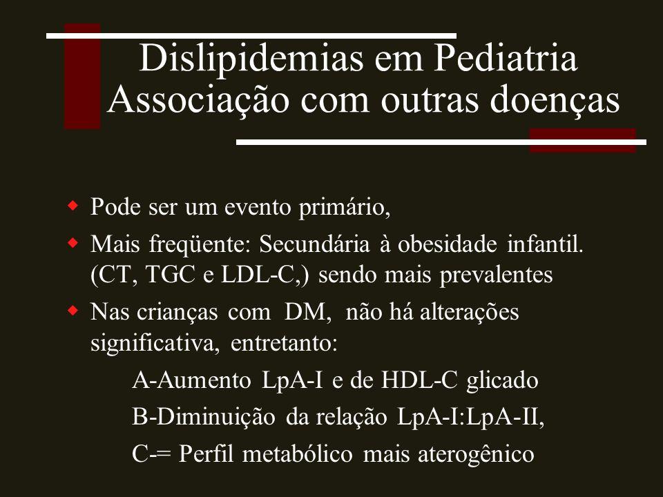 Dislipidemias em Pediatria Associação com outras doenças