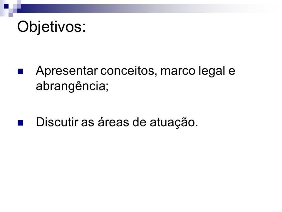 Objetivos: Apresentar conceitos, marco legal e abrangência;