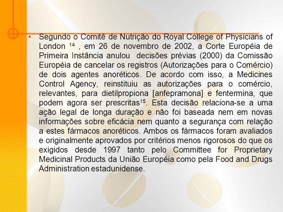 Segundo o Comitê de Nutrição do Royal College of Physicians of London 14 , em 26 de novembro de 2002, a Corte Européia de Primeira Instância anulou decisões prévias (2000) da Comissão Européia de cancelar os registros (Autorizações para o Comércio) de dois agentes anoréticos.