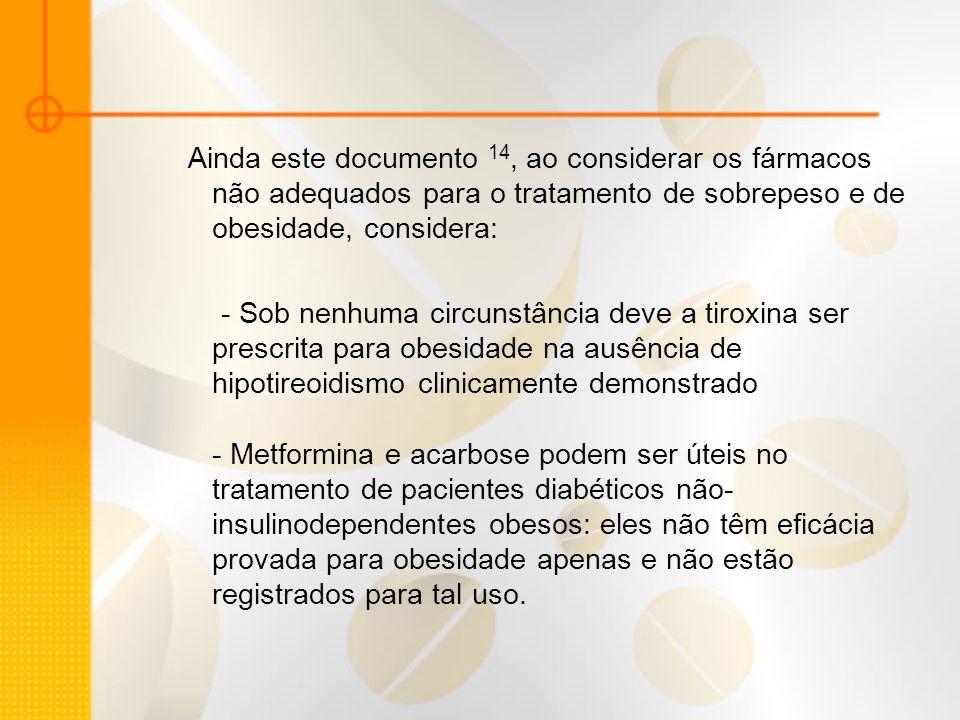 Ainda este documento 14, ao considerar os fármacos não adequados para o tratamento de sobrepeso e de obesidade, considera: