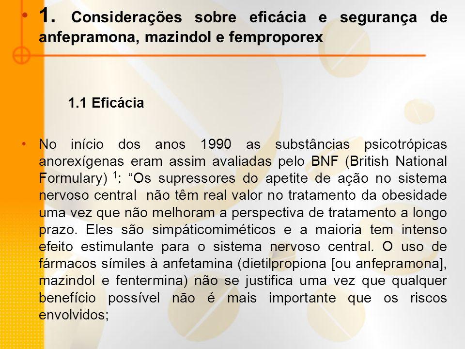 1. Considerações sobre eficácia e segurança de anfepramona, mazindol e femproporex