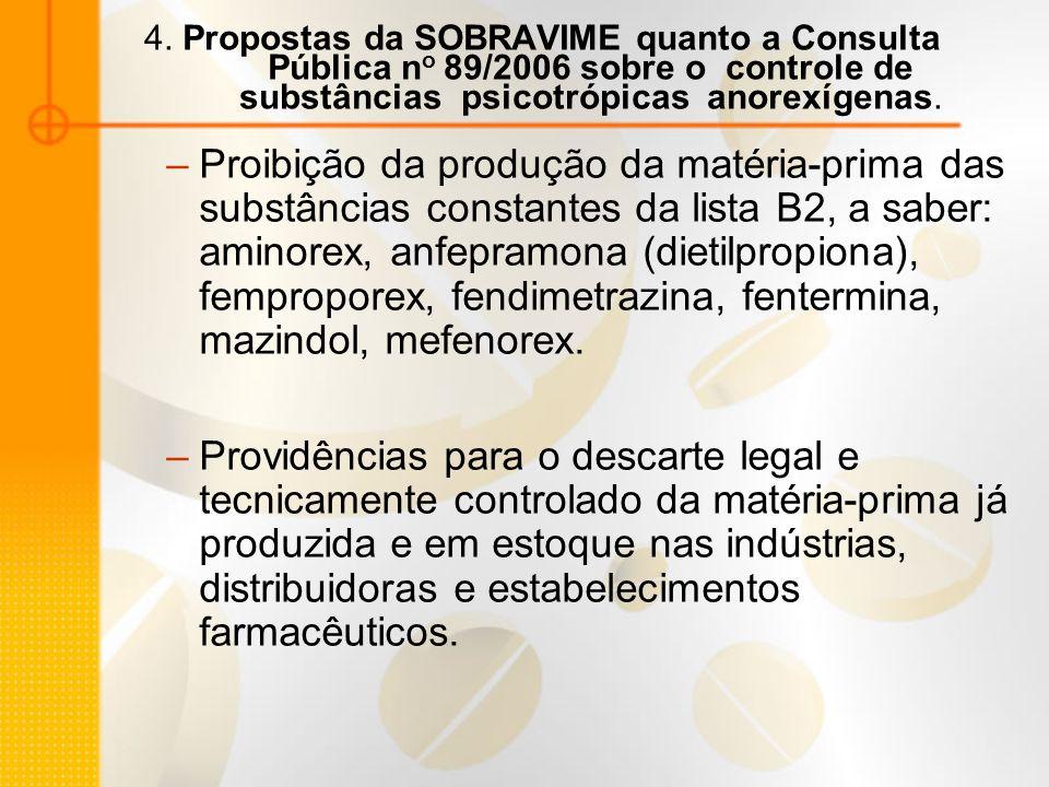 4. Propostas da SOBRAVIME quanto a Consulta Pública no 89/2006 sobre o controle de substâncias psicotrópicas anorexígenas.