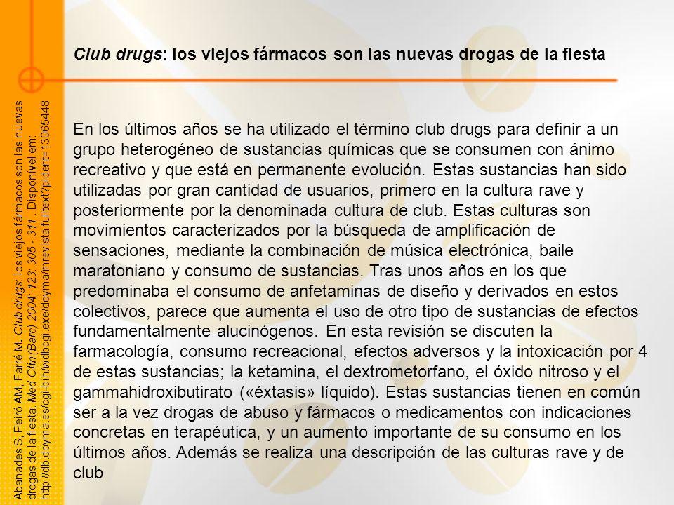 Club drugs: los viejos fármacos son las nuevas drogas de la fiesta