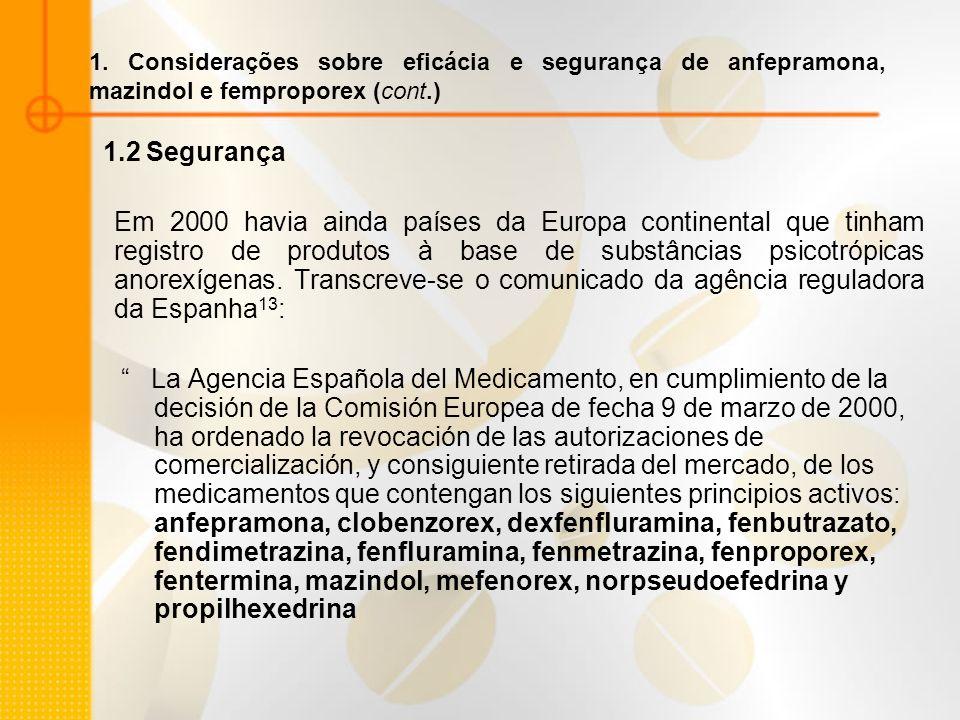 1. Considerações sobre eficácia e segurança de anfepramona, mazindol e femproporex (cont.)